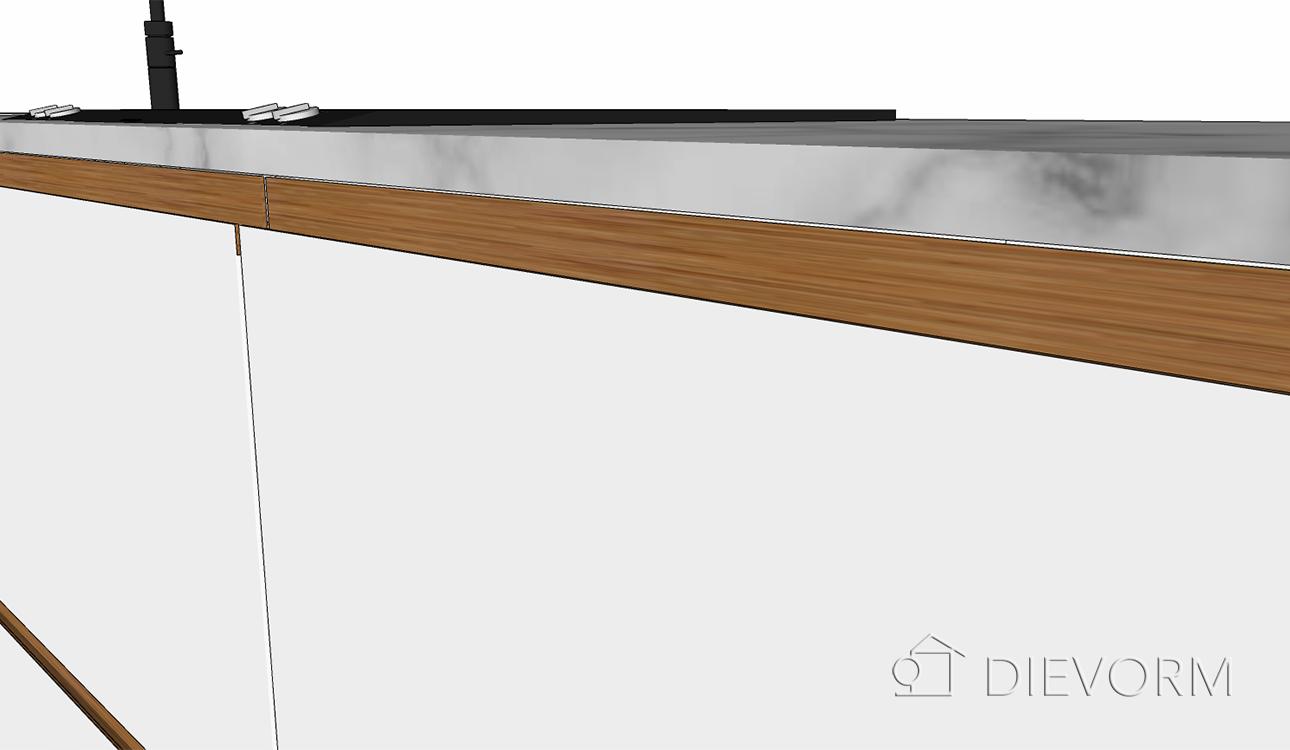 Moderne_keuken_schets_greep_ingefreesd_hout_wit_marmer_detail
