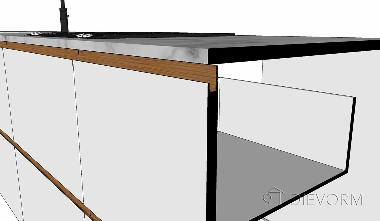 Moderne_keuken_schets_greep_ingefreesd_hout_wit_marmer_detail_doorsnede