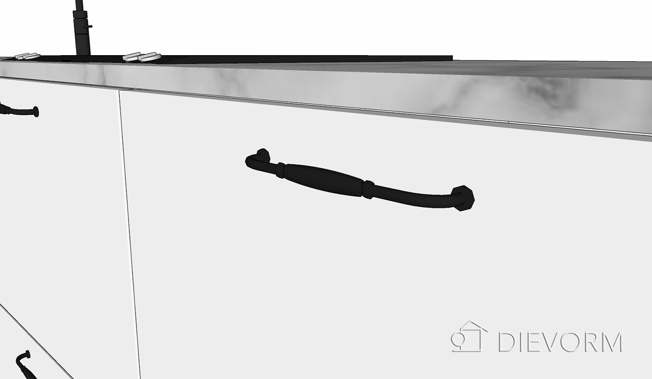 keuken schets_landelijke greep keuken_detail